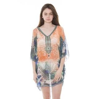 BYOS Womens Fashion Diva Soft Sheer Lightweight Rhinestone Studded Poncho Tunic Beach Coverup