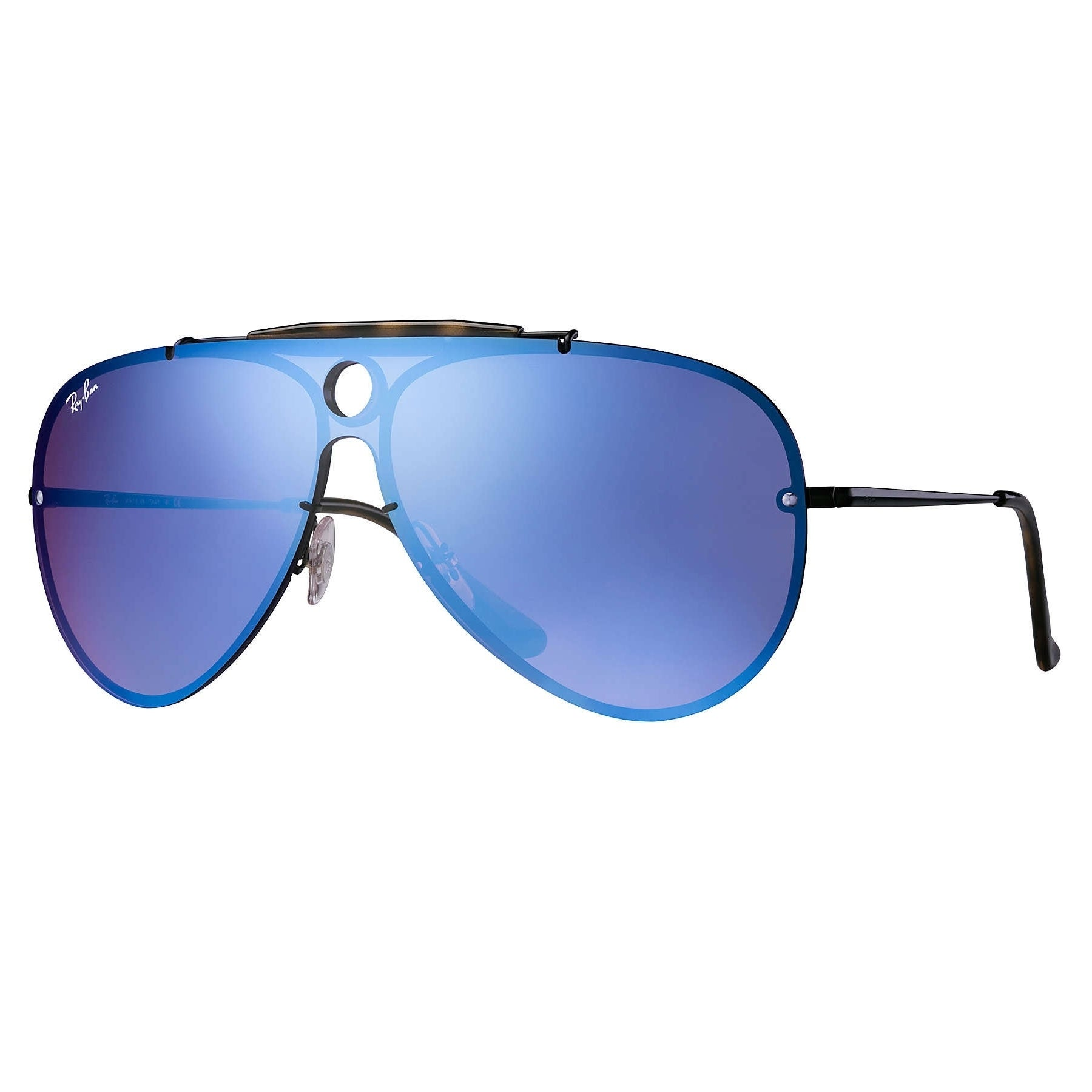 c4afef8b7957 Shop Ray-Ban RB3581N Blaze Sunglasses Black/ Violet & Blue Mirror 32mm -  Free Shipping Today - Overstock - 20457188