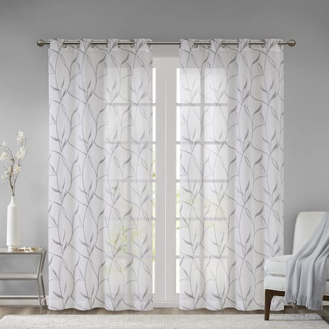 Madison Park Dawn Leaf Embroidered Sheer Single Curtain Panel