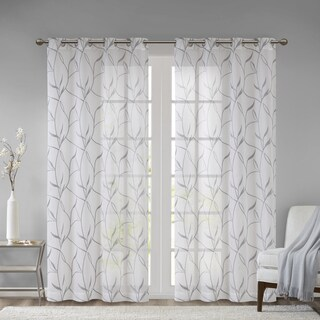 Madison Park Dawn Leaf Embroidered Sheer Curtain Panel