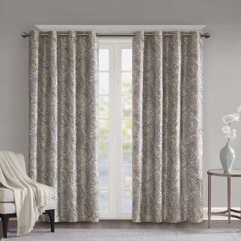SunSmart Dahlia Paisley Printed Total Blackout Single Window Curtain Panel