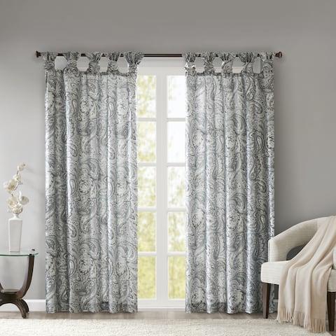 Madison Park Rosalie Twist Tab Paisley Printed Single Window Curtain Panel