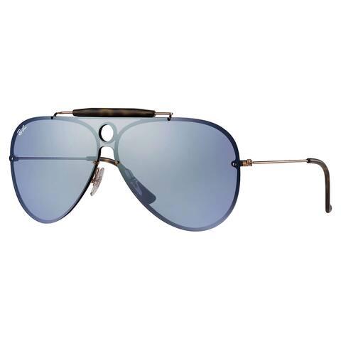 Ray-Ban RB3581N Blaze Shooter Sunglasses Bronze & Copper/ Violet Mirror 32mm - Blue