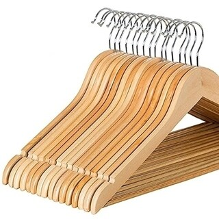 Solid Wood Suit Hangers - 30 Pack - with Non Slip Bar and Precisely Cut Notches - 360 Degree Swivel Chrome Hook - Natural Finish