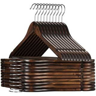 High Grade Lotus Wooden Hangers - 20-pack - Solid Wood Suit Hangers With Extra Smooth Finish, 360 Degree Swivel Hook Non-Slip