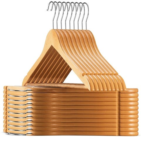 High Grade Lotus Wooden Hangers - 20-pack - Solid Wood Suit Hangers with Extra Smooth Finish 360 Degree Swivel Hook Non-Slip Bar