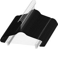 Premium Quality Space Saving Velvet Pants Hangers Strong and Durable, with Metal Clips - 360 Degree Chrome Hook 20 pack (Black)