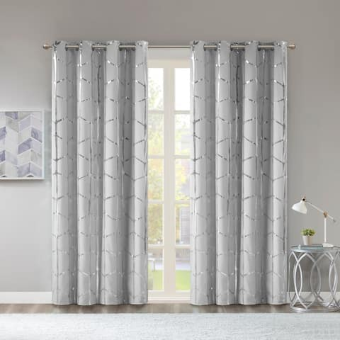 Intelligent Design Khloe Total Blackout Metallic Print Grommet Top Single Curtain Panel