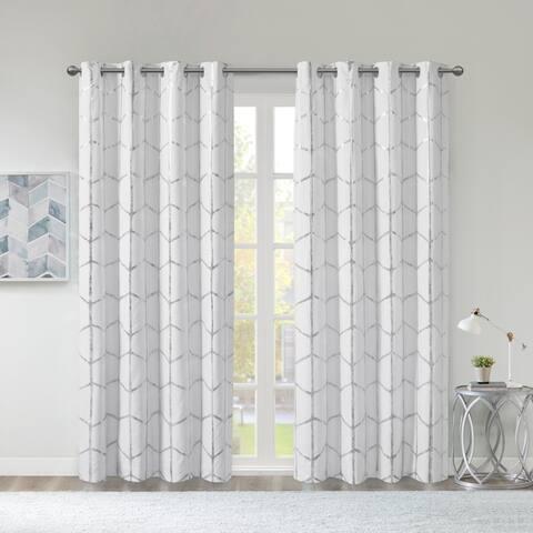 Intelligent Design Khloe Total Blackout Metallic Print Grommet Top Single Curtain Panel