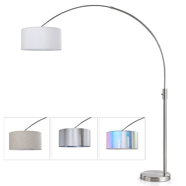 shop orbita 82 inch brushed nickel retractable arc dimmable floor