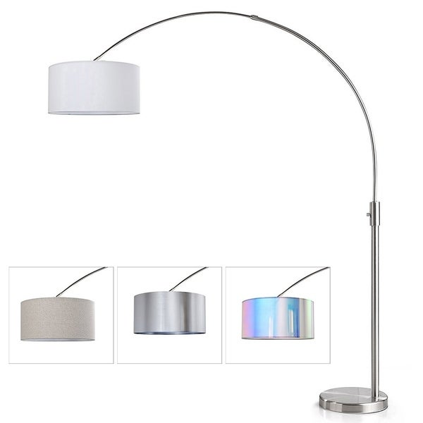 ORBITA 82-Inch Brushed Nickel Retractable Arc Dimmable Floor Lamp, LED Bulb Included, Drum Shade