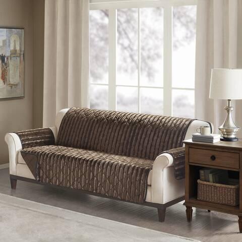 Madison Park York Faux Fur Sofa Protector 3-Color Option