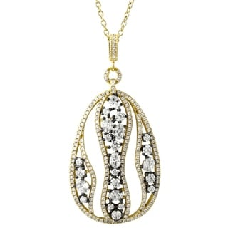 Link to Luxiro Sterling Silver Two-tone Finish White Cubic Zirconia Open Teardrop Pendant Necklace Similar Items in Necklaces