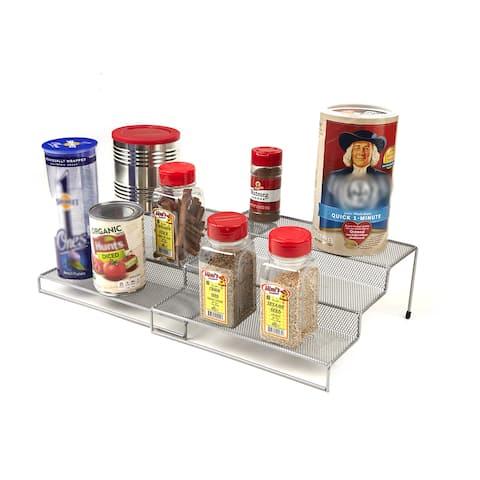 Mind Reader 2 Piece 3-Tier Storage Kitchen Shelf Organizer, Silver