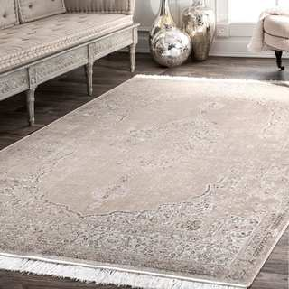 Gracewood Hollow LaFavor Medallion Tassel Beige Area Rug - 10' x 14'