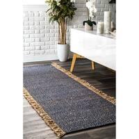 nuLOOM Handmade Flatweave Solid Tassle Blue Runner Rug (2'6'' x 8')