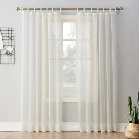 No. 918 Emily Voile Sheer Tab Top Curtain Panel, Single Panel