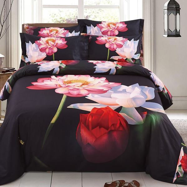 Floral Lotus Duvet Cover Set with Fitted Sheet by Dolce Mela - Black/Brown/Tan