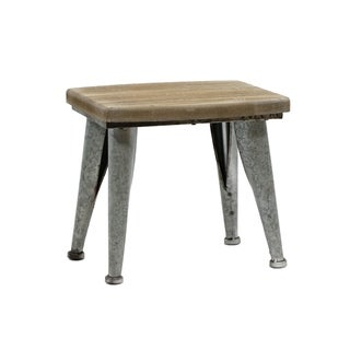 "13.4""H Metal And Wood Brown Stool"
