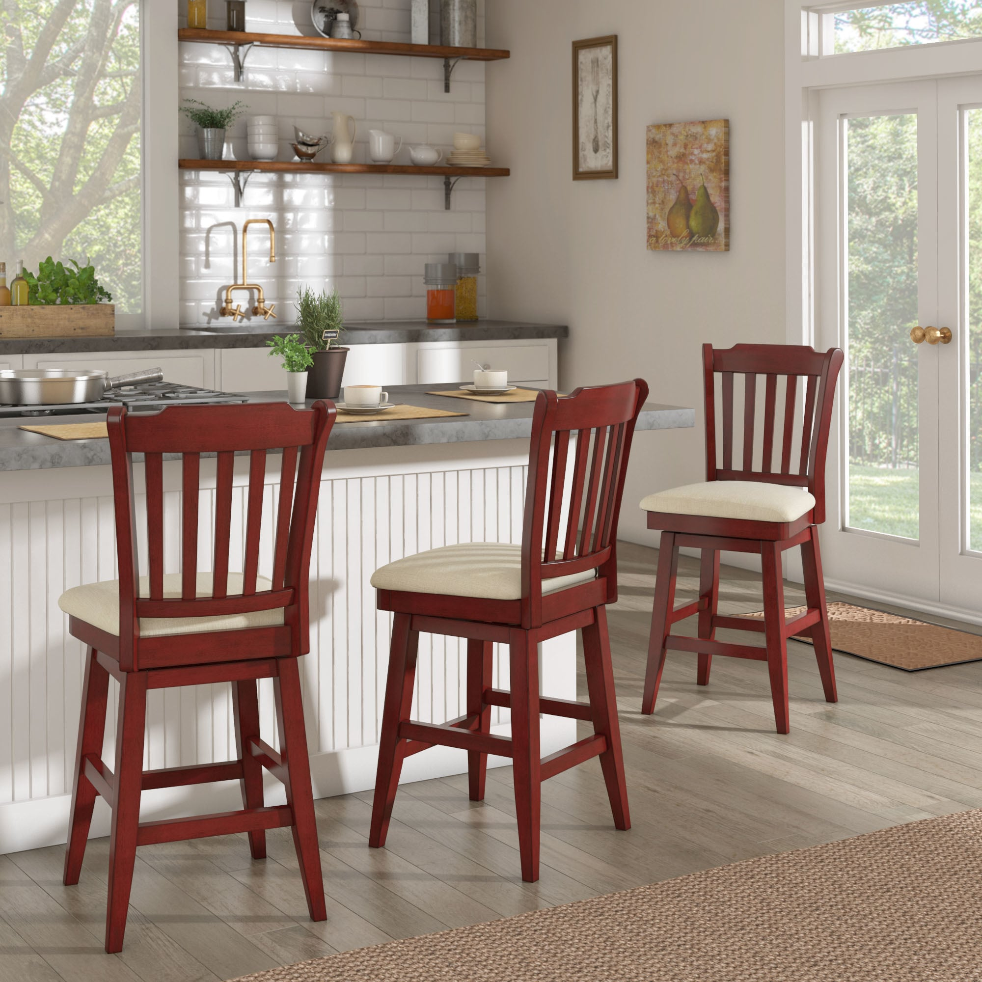 Eleanor Slat Back Counter Height Wood Swivel Chair By INSPIRE Q Classic