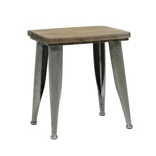 "15.8""H Metal and Wood Brown Stool"