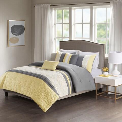 510 Design Shane Yellow/ Grey Embroidered 5-piece Comforter Set