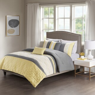 510 Design Shane Yellow/ Grey Embroidered 5-piece Comforter Set