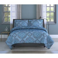 India Medallion Motif, Soft Microfiber, Blue, Full/ Queen 3-piece Comforter Set Inspired Surroundings by 1888 Mills