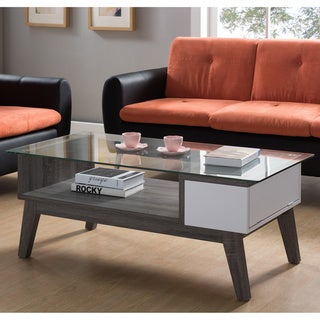 Furniture of America Oslo Contemporary Glass Top Coffee Table