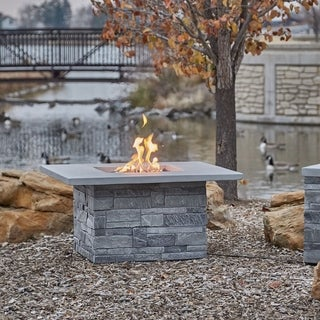 Real Flame Gray Ledgestone Sq. LP Fire Table w/NG Conversion Kit