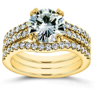 Link to Annello by Kobelli 14k Gold 2 1/2 Carat TGW Round Brilliant Moissanite and Diamond Bridal Rings (HI/VS, GH/I) Similar Items in Rings