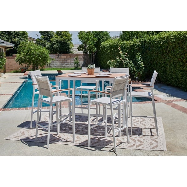 Vitt 7 Piece Wood And Sling Patio Bar Height Dining Set