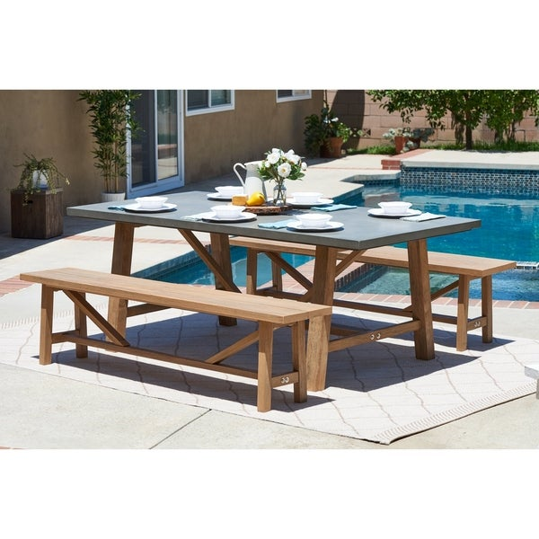 Cement Patio Furniture.Shop Amalfi Cement Outdoor Dining Set With 2 Wood Benches On Sale