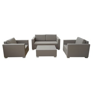 Arete Beige 4-Piece Patio Conversation Set with Beige Cushions