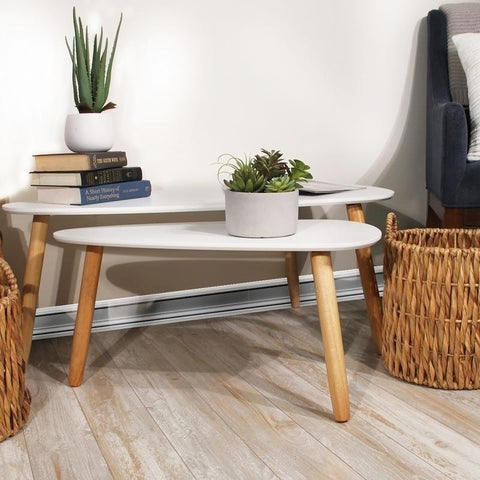 Terrie 2pc Teardrop White Accent Table Set