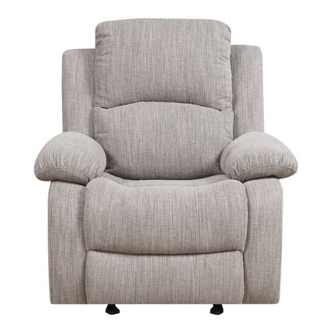 Emerald Home Hennessy Textured Wheat Reclining Glider with Glide And Recline Motion