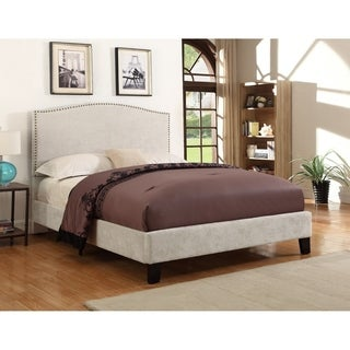 Emerald Home Colton cream nailhead upholstered bed B126-09HBFBR-09