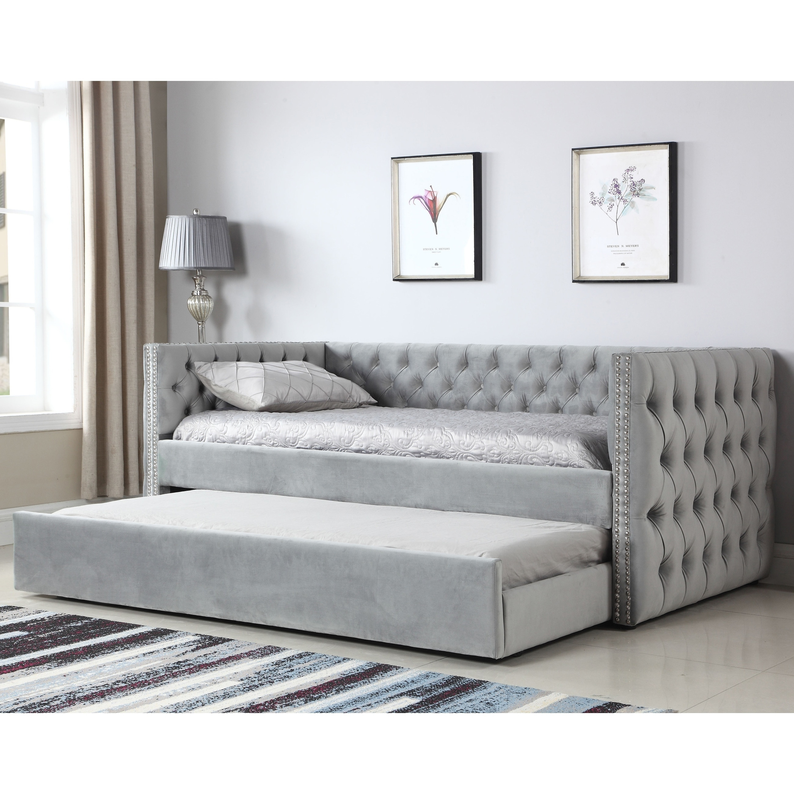 - Shop Gracewood Hollow Moyo Light Grey Tufted Upholstered Daybed W