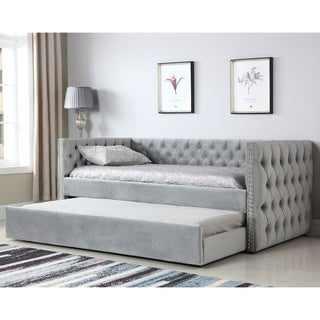 Gracewood Hollow Moyo Light Grey Tufted Upholstered Daybed w/ Nailhead Trim- Twin