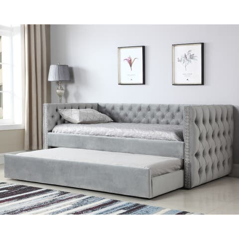 Gracewood Hollow Moyo Light Grey Tufted Upholstered Daybed w/ Nailhead Trim