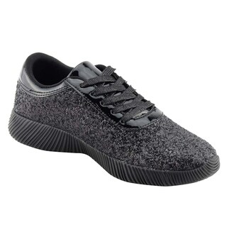 NATURE BREEZE Women's Casual Lug Sole Lace Up Glitter Fashion Sneaker (2 options available)