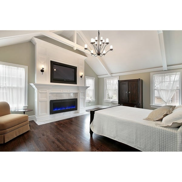 Allure 60-inch Wall Mount Electric Fireplace with Remote Control