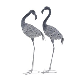 Set of 2 Traditional 40 and 41 Inch Gray Iron Flamingo Sculptures