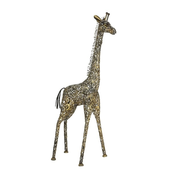 Farmhouse 89 x 25 Inch Gold and Silver Iron Giraffe Sculpture