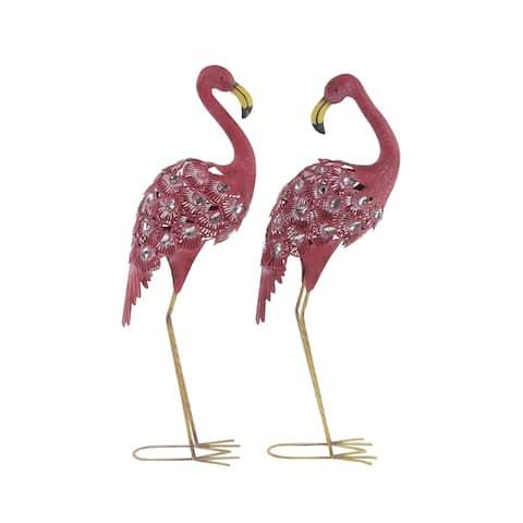 Set of 2 Eclectic 38 Inch Pink Iron Flamingo Sculptures