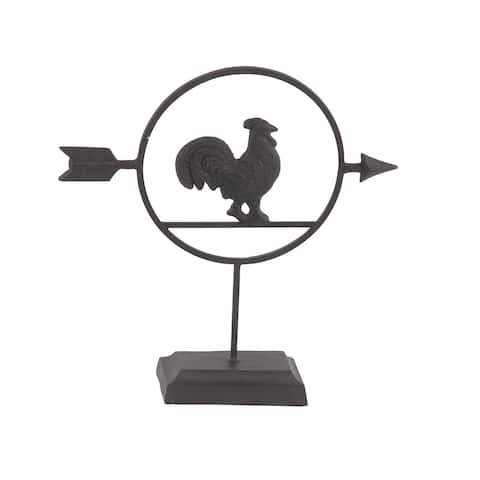 The Gray Barn Jartop Farmhouse 14 x 13-inch Black Metal Rooster Table Decor
