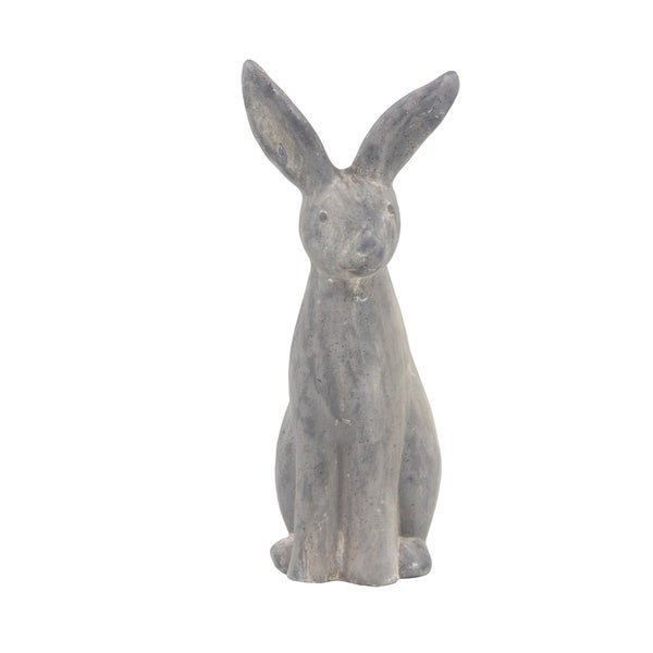 Farmhouse 20 x 7 Inch Distressed Gray Bunny Imitation Sculpture