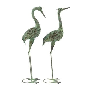 Set of 2 Eclectic 39 and 40 Inch Green Iron Crane Sculptures
