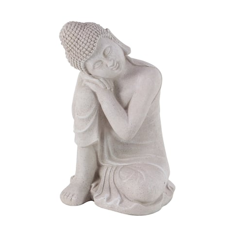 Contemporary 20 x 13 Inch Resin Sitting Buddha Sculpture