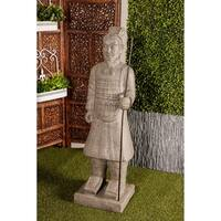 Traditional 47 x 14 Inch Gray Warrior Polystone Sculpture with Base